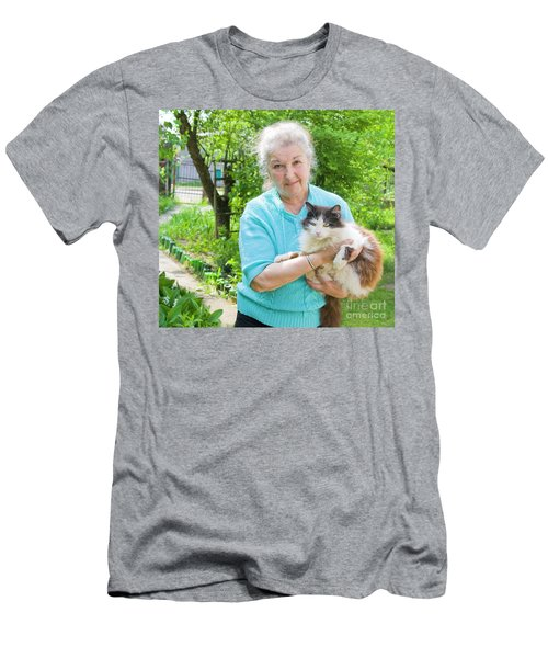 Old Lady With Cat Men's T-Shirt (Slim Fit) by Irina Afonskaya