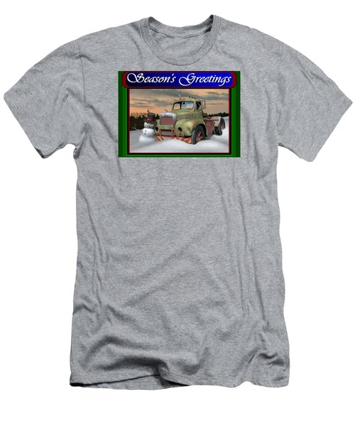 Men's T-Shirt (Slim Fit) featuring the digital art Old Mack Christmas Card by Stuart Swartz