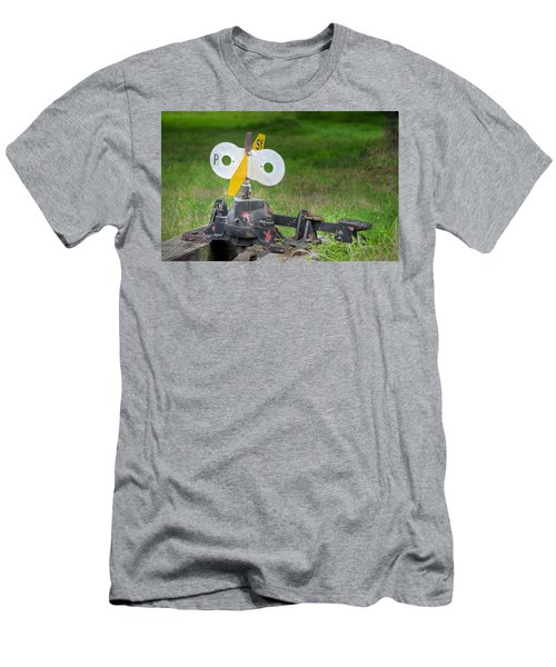 Old Railroad Switch In The Grass Men's T-Shirt (Slim Fit) by Gary Slawsky