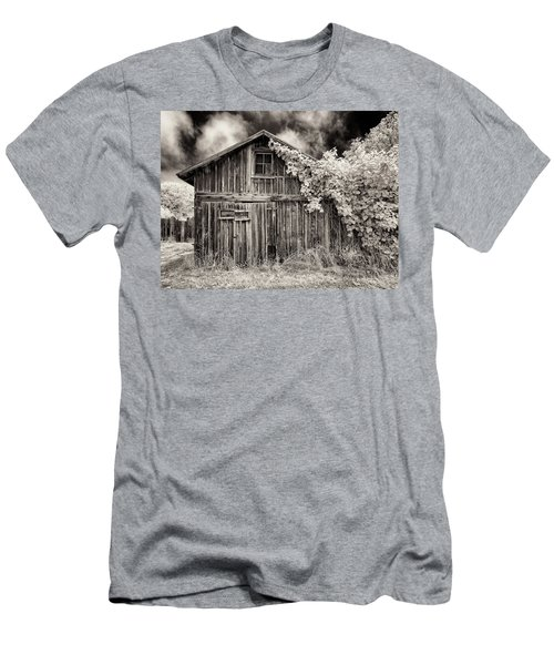Men's T-Shirt (Slim Fit) featuring the photograph Old Shed In Sepia by Greg Nyquist