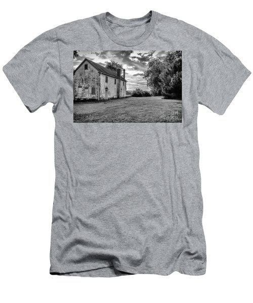 Old Stone House Black And White Men's T-Shirt (Athletic Fit)