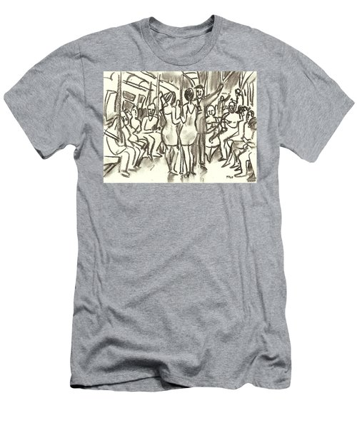 On The A, New York City Subway Drawing Men's T-Shirt (Athletic Fit)