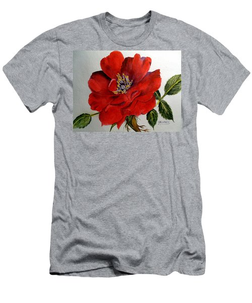 One Lone Wild Rose Men's T-Shirt (Slim Fit) by Carol Grimes