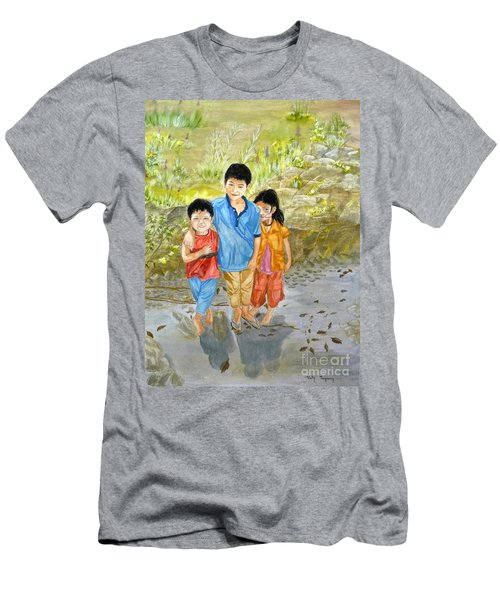 Men's T-Shirt (Slim Fit) featuring the painting Onion Farm Children Bali Indonesia by Melly Terpening
