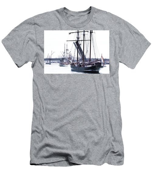 Men's T-Shirt (Athletic Fit) featuring the photograph Oosterschelde Leaving Port by Stephen Mitchell