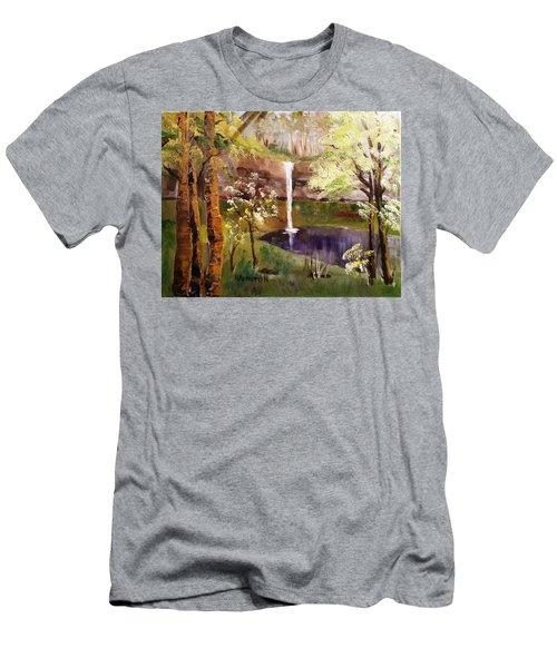 Oregon Waterfall Men's T-Shirt (Slim Fit) by Larry Hamilton