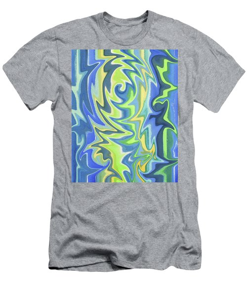 Organic Abstract Swirls Cool Blues Men's T-Shirt (Athletic Fit)