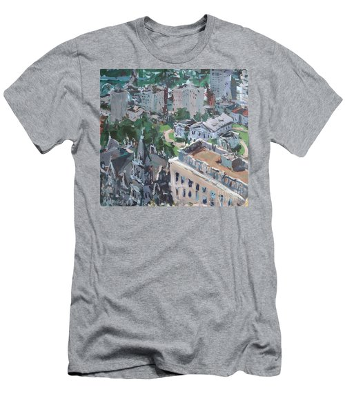 Original Contemporary Cityscape Painting Featuring Virginia State Capitol Building Men's T-Shirt (Athletic Fit)
