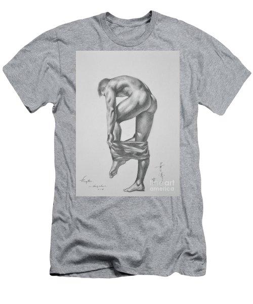 Original Drawing Sketch Charcoal Pencil Gay Interest Man Art  On Paper #11-17-14 Men's T-Shirt (Slim Fit) by Hongtao     Huang