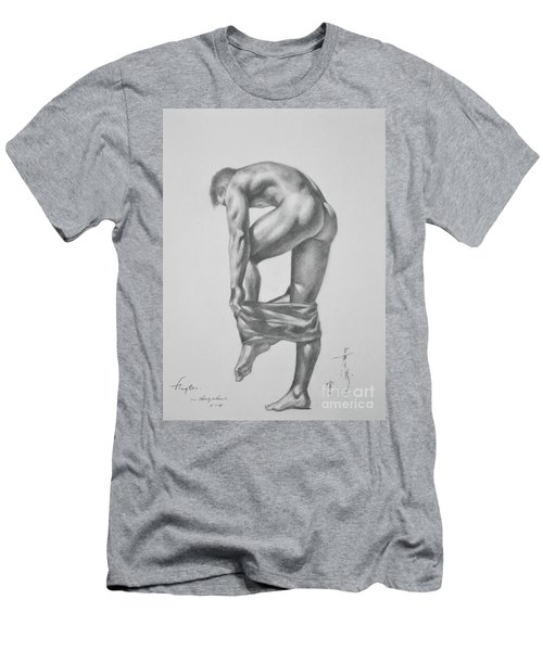 Original Drawing Sketch Charcoal Pencil Gay Interest Man Art  On Paper #11-17-14 Men's T-Shirt (Athletic Fit)