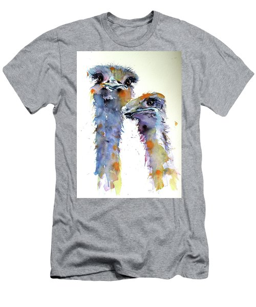 Men's T-Shirt (Slim Fit) featuring the painting Ostriches by Kovacs Anna Brigitta