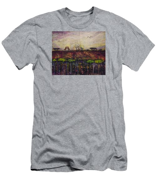 Men's T-Shirt (Slim Fit) featuring the painting Other World 4 by Ron Richard Baviello