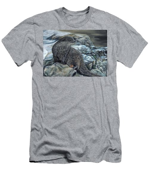 Otter On Rocks Men's T-Shirt (Athletic Fit)