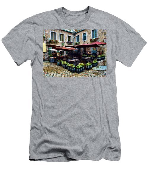 Outdoor French Cafe In Old Quebec City Men's T-Shirt (Athletic Fit)