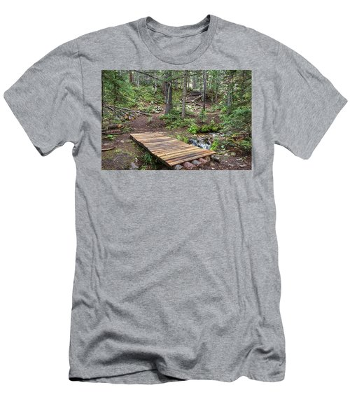 Men's T-Shirt (Athletic Fit) featuring the photograph Over The Bridge And Through The Woods by James BO Insogna