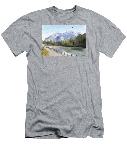 Men's T-Shirt (Slim Fit) featuring the painting Over The Mountains by Wayne Pascall