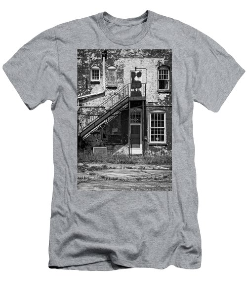 Men's T-Shirt (Slim Fit) featuring the photograph Over Under The Stairs - Bw by Christopher Holmes