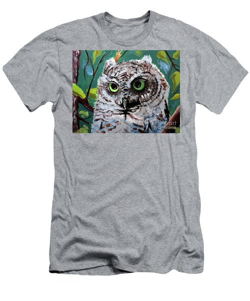 Men's T-Shirt (Slim Fit) featuring the painting Owl Be Seeing You by Tom Riggs