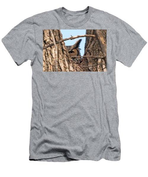 Owl Peek Men's T-Shirt (Slim Fit) by Steve Stuller
