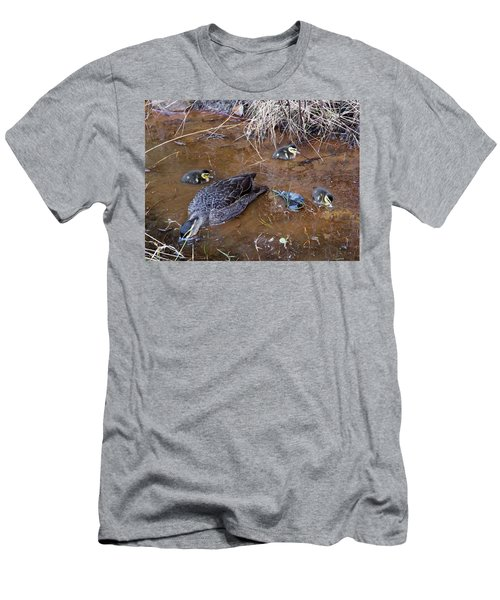 Men's T-Shirt (Athletic Fit) featuring the photograph Pacific Black Duck Family by Miroslava Jurcik