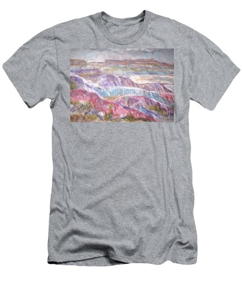 Men's T-Shirt (Slim Fit) featuring the painting Painted Desert by Ellen Levinson