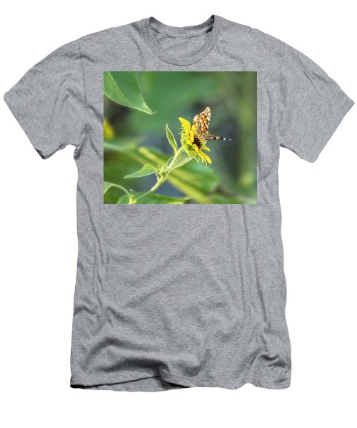 Men's T-Shirt (Athletic Fit) featuring the photograph Painted Lady On A Sunflower  by Saija Lehtonen