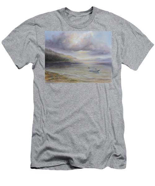 Beach By Sruce Run Lake In New Jersey At Sunrise With A Boat Men's T-Shirt (Athletic Fit)