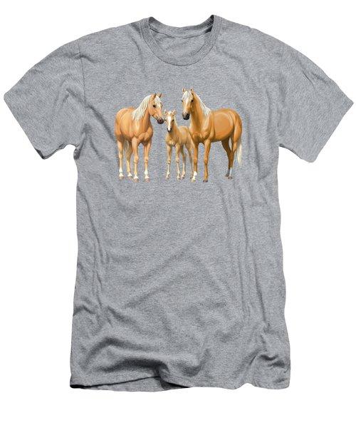 Palomino Horses In Winter Pasture Men's T-Shirt (Athletic Fit)