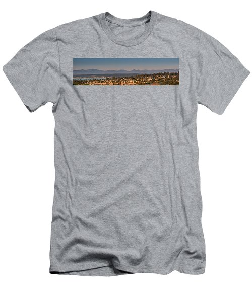 Men's T-Shirt (Slim Fit) featuring the photograph Panorama - Lake Washington - Cascade Mountains by E Faithe Lester