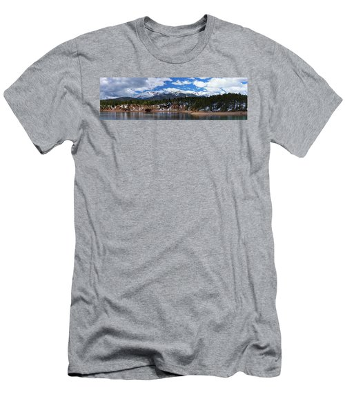 Panorama Of South Catamount Reservoir With Pike's Peak Covered I Men's T-Shirt (Athletic Fit)