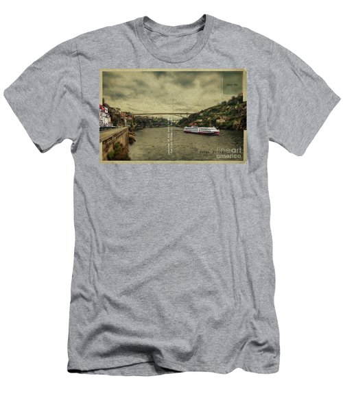 Men's T-Shirt (Athletic Fit) featuring the digital art panorama of the Douro river, Dom Luiz Bridge of  Porto, Portugal by Ariadna De Raadt