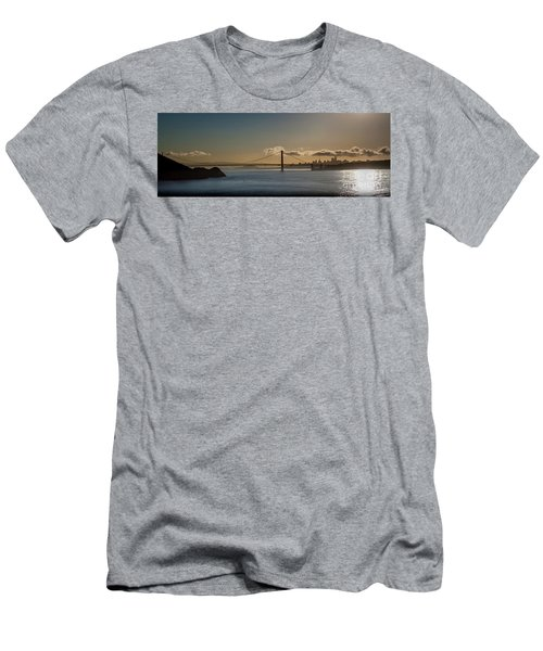Panoramic View Of Downtown San Francisco Behind The Golden Gate  Men's T-Shirt (Athletic Fit)