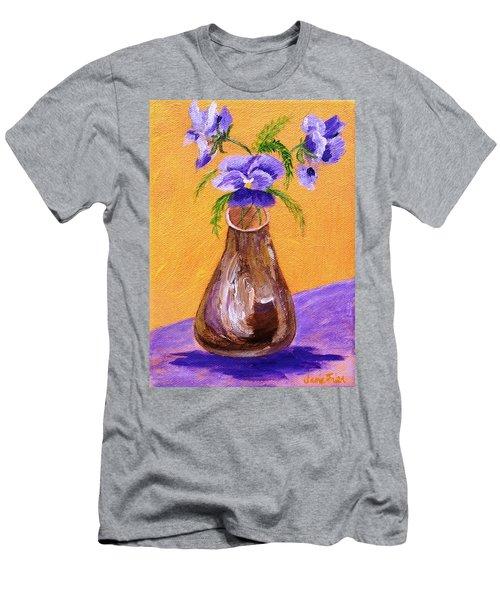 Pansies In Brown Vase Men's T-Shirt (Athletic Fit)