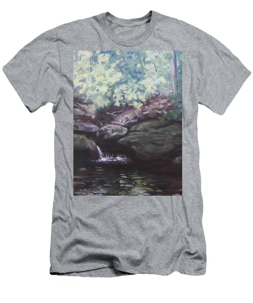 Men's T-Shirt (Slim Fit) featuring the painting Paris Mountain Waterfall by Robert Decker
