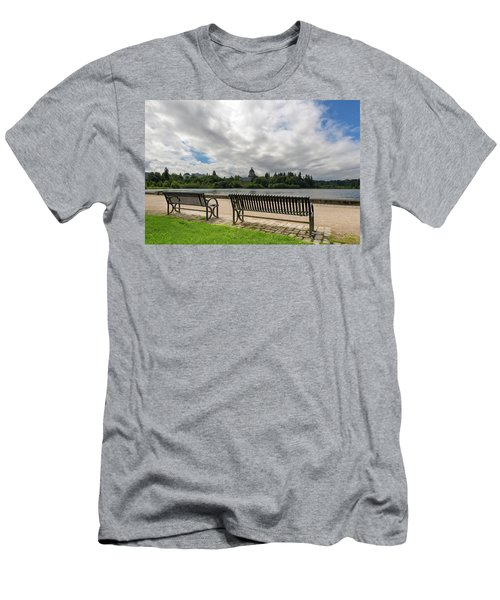 Park Bench Along Capitol Lake In Olympia Washington Men's T-Shirt (Athletic Fit)