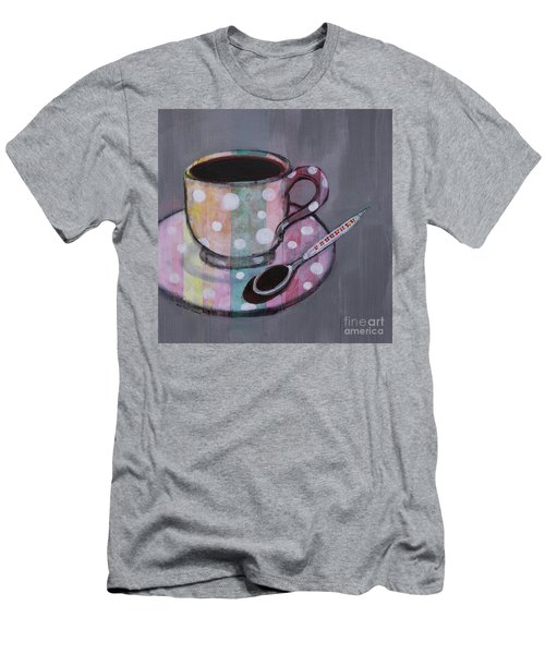 Men's T-Shirt (Athletic Fit) featuring the painting Pastel Stripes Polka Dotted Coffee Cup by Robin Maria Pedrero