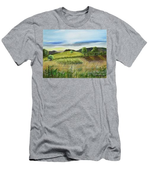 Men's T-Shirt (Athletic Fit) featuring the painting Pasture Love At Chateau Meichtry - Ellijay Ga by Jan Dappen