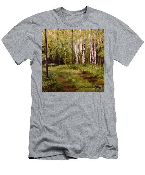 Path To The Birches Men's T-Shirt (Slim Fit) by Laurie Rohner