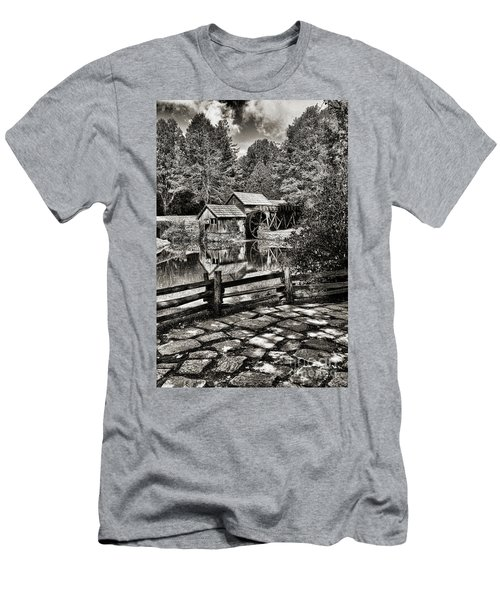 Pathway To Marby Mill In Black And White Men's T-Shirt (Slim Fit) by Paul Ward