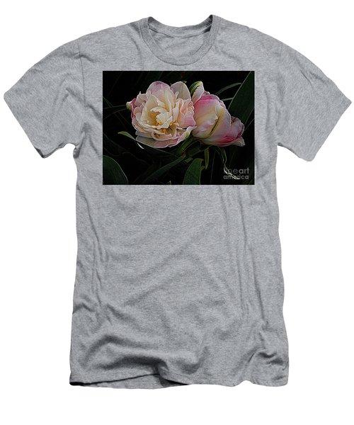 Men's T-Shirt (Slim Fit) featuring the photograph Pe0ny Tulip Duet 2 by Nancy Kane Chapman