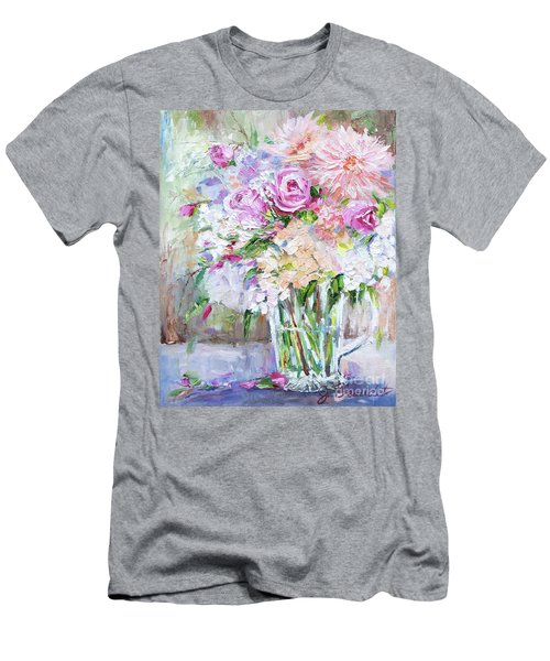 Peach And Pink Bouquet Men's T-Shirt (Slim Fit) by Jennifer Beaudet