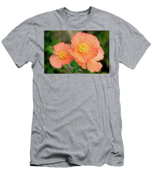 Peach Poppies Men's T-Shirt (Slim Fit) by Sally Weigand