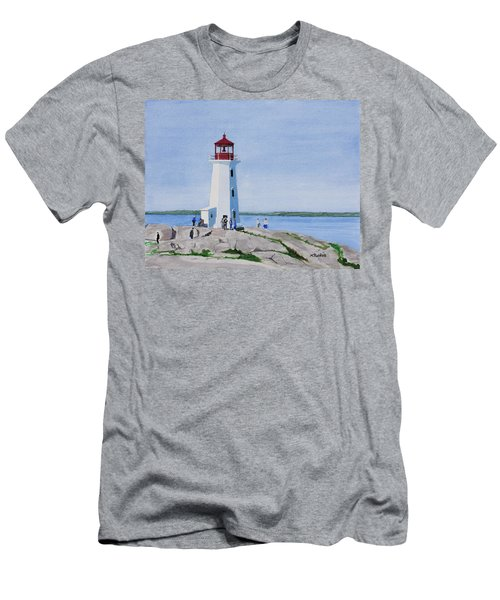 Peggy's Point Lighthouse Men's T-Shirt (Slim Fit) by Mike Robles
