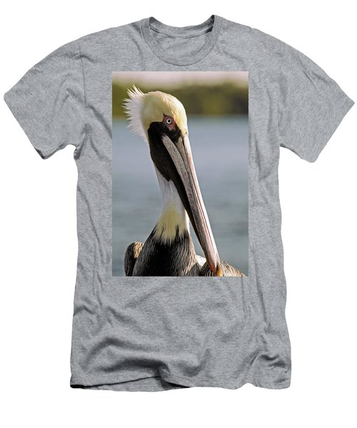 Men's T-Shirt (Slim Fit) featuring the photograph Pelican Portrait by Sally Weigand