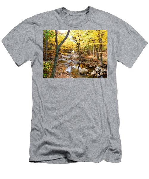 Pemigwasett River At The Flume Men's T-Shirt (Slim Fit) by Catherine Gagne