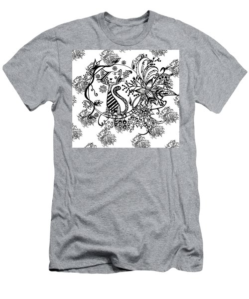 Pen And Ink Cat Pattern Black And White Men's T-Shirt (Slim Fit) by Saribelle Rodriguez