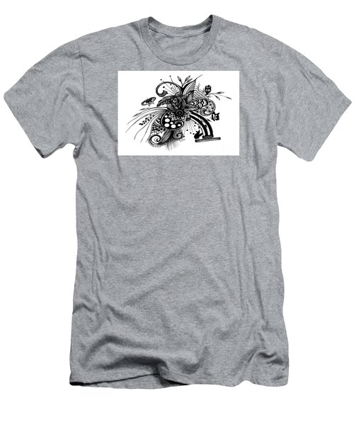 Pen And Ink Drawing Rose Men's T-Shirt (Slim Fit) by Saribelle Rodriguez