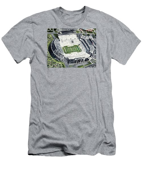 Penn State Beaver Stadium Whiteout Game University Psu Nittany Lions Joe Paterno Men's T-Shirt (Slim Fit) by Laura Row