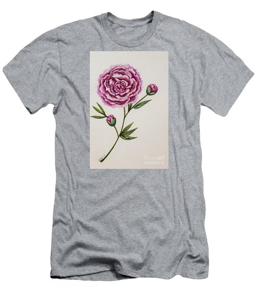 Peony Botanical Men's T-Shirt (Slim Fit) by Elizabeth Robinette Tyndall