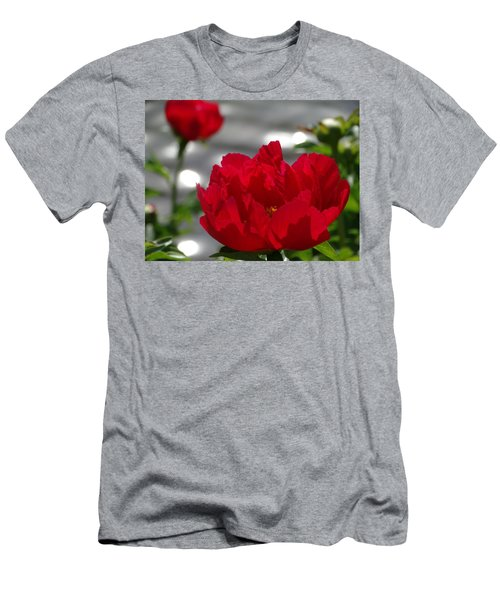 Peony In Red Men's T-Shirt (Slim Fit) by Rebecca Overton